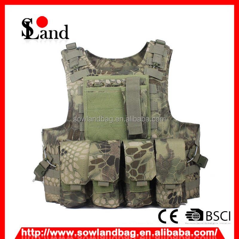Green Python pattern Combat Tactical Soft Bullet proof pouch vest IIIA NIJ