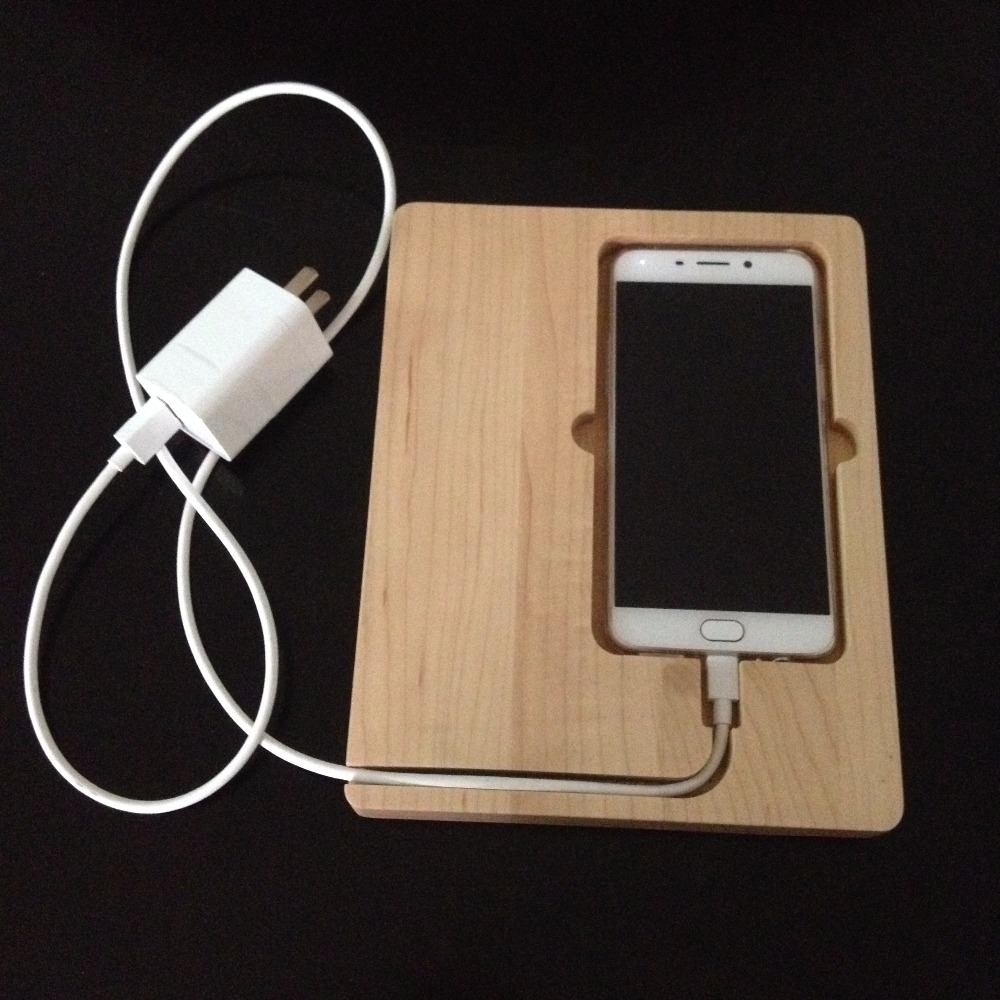 Natural Maple Wood Phone Charging Stand Dock,Wooden Docking Station For Phone
