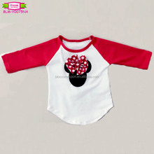 Minnie design 180 grams fabric raglan cotton kids t-shirt 3/4 ruffle sleeves Mickey pattern girl red raglan t-shirts wholesale