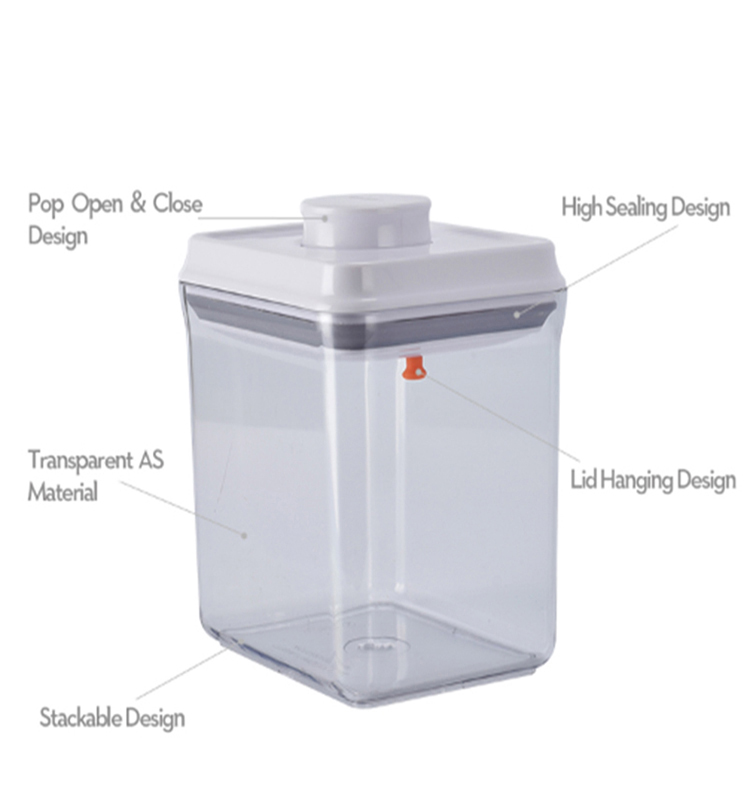 One Touch Button Reusable Clear Food Storage Containers With Lid
