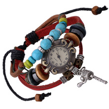 The New Retro Leather Bracelet table manufacturers direct selling hot burst cylinder through the leather bracelet watch men and