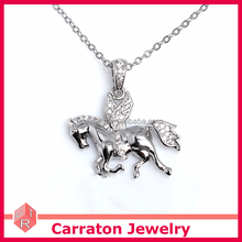 fashion jewelry rhodium plating 925 sterling silver horse pendant