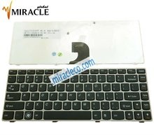 For Lenovo Z360 SILVER FRAME BLACK laptop keyboard US