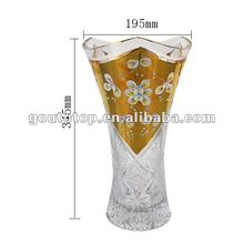 Crystal hand painting glass flower vase LM6546/100%purity gold