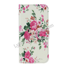 Flip Magnetic PU Leather Stand Blue Peony Floral Case For iphone 6,Flip Leather Case For iphone 6