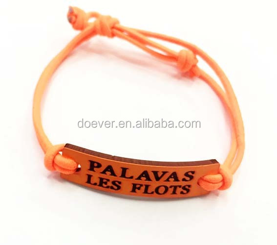Promotional Elastic Cord Bracelet with Custom Charm with your custom text or logo