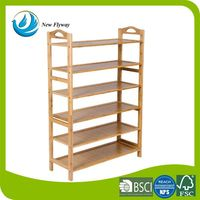 Disassembly home wood storage furniture wall 6 shelves shoe bamboo rack wooden in the hallway