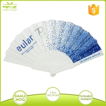promotional custom colorful plastic ribs nylon folding fan