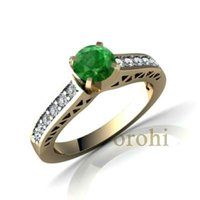 anillo de piedras preciosas,anel emerld rodada 22carat yollow gold wedding ring HG135-E
