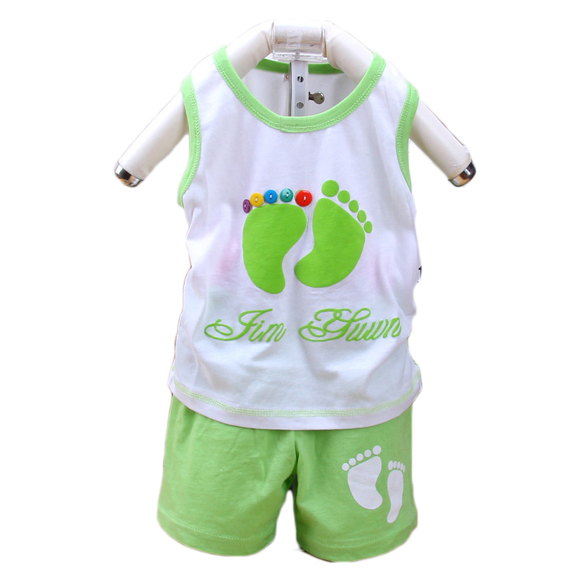 2015 Summer Style New Newborn Baby Girl Clothes  Baby Clothing Set Vest  Kids Foots Sets Baby Boy Casual Suits Girls Summer Sets