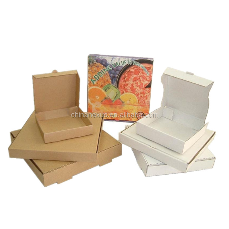 8/10/12/14 inches kraft pizza packing boxes,customized logo printed kraft paper pizza box