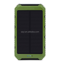 Protable high quality full capacity double usb solar power bank , mobile solar charger