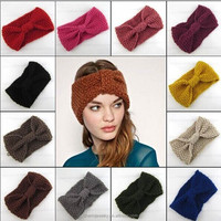 Women's Girl's Crochet Headband Knit hairband Wool Winter Ear Warmer Headwrap BTS021