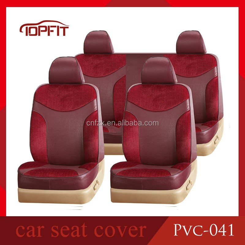 Toyota Hilux Mustang Red and Maroon Girly Design PVC Leather Auto Seat Protector Decorative Accessories Durable Car Seat Covers