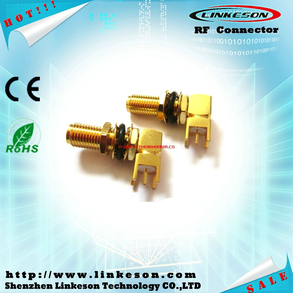 2015 hot sale SMA female bulkhead right angle connector for pcb mount