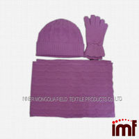 2014 winter knitting cashmere glove and scarf set