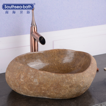 Yellow cobble river hot sale natural stone bathroom sinks