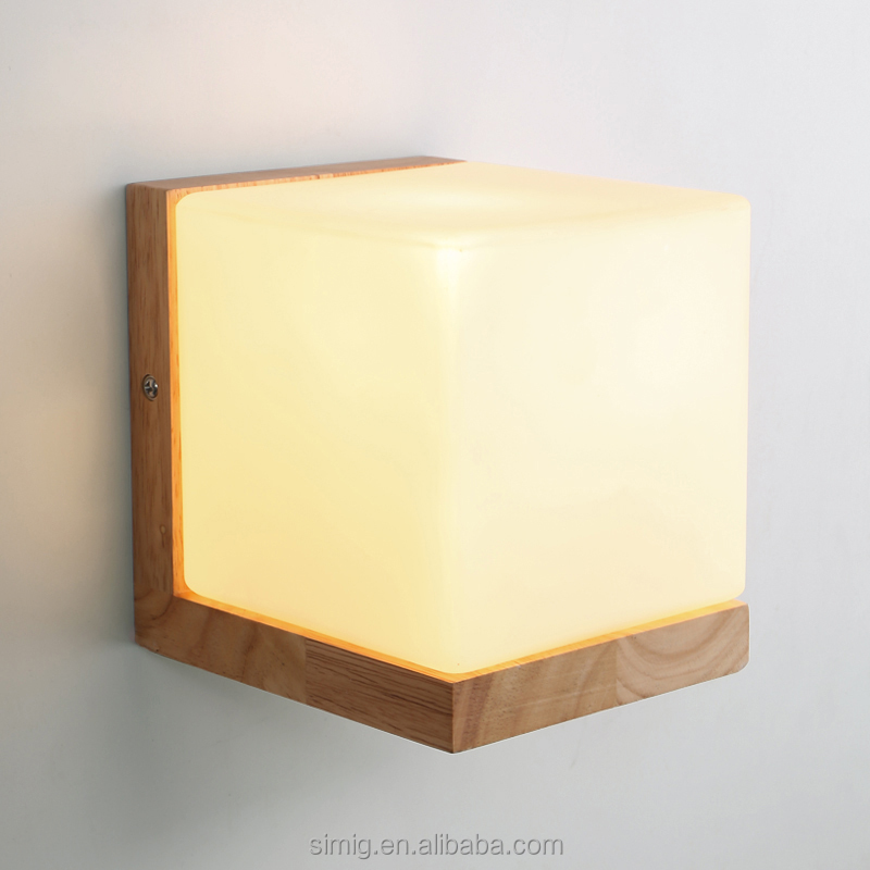 decorative wooden color square glass ball E27 wall lamp fixtures outdoor wall light