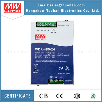480w 24V 20a aluminum din rail power supply 480w meanwell DIN RAIL WDR-480-24