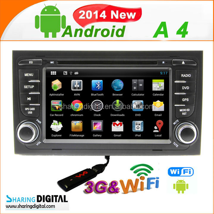 DVR with rear view camera android DVD for Audi A4 7inch 2din car dvd player with gps navigation
