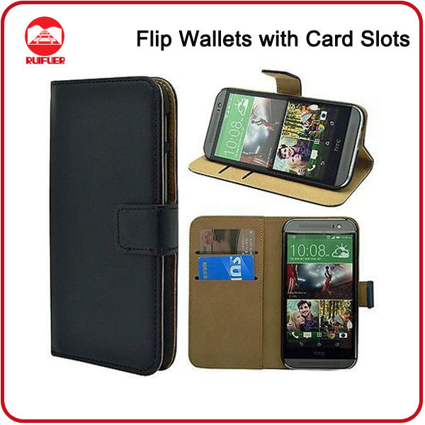 RF Manufacturer Wholesale Book Flip Wallet Premium Leather Pouch Pocket Case for HTC One 2 M8