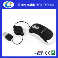 Custom Printed 3d Super Mini Optical Mouse With Retractable Cord