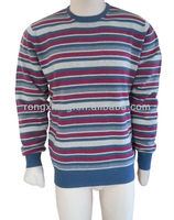 Men's blue white red knitted striped sweater