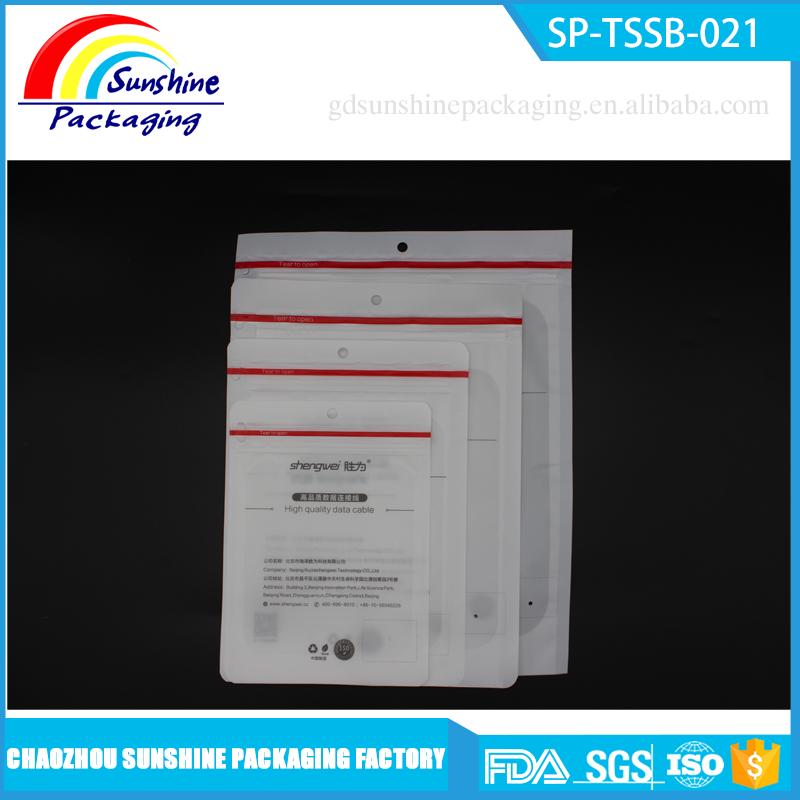 Clear Window White Finish Resealable Ziplock Data Cable Packing Bag with Custom Logo
