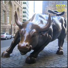 Custom outdoor plaza landscape sculpture fiberglass bronze Wall Street copper cattle bull cow