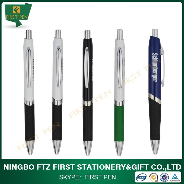 Flat Brass Ball Point Pen With Rubber Grip