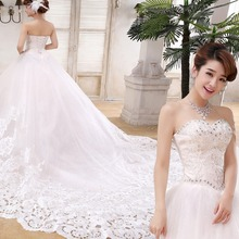 Luxury Beaded Long Train Lace Tail Wedding Dress/Bridal Gown