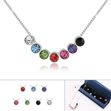 Rainbow Design For Party,Rhodium Plated Crystal Necklace