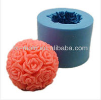 3d rose flower ball silicone wedding cake mold