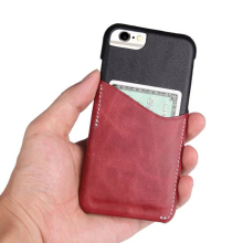 Mix-color Genuine Leather Mobile Phone Case Cover Pouch with Card Holder for iPhone 6 7 8 Plus