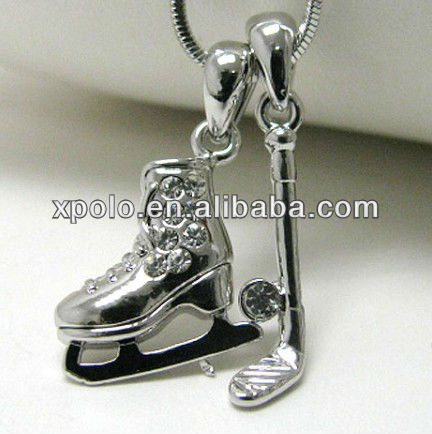 White gold plating crystal stud ice hockey theme dual pendant necklace