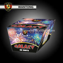 popular 66 shots fan/v/w shape cake fireworks for festival