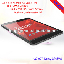 "7.85"" Ainol Numy BW1 Dual Sim 8GB NOVO7 3G KC-F1 Android Tablet Mobile Cell Phone"
