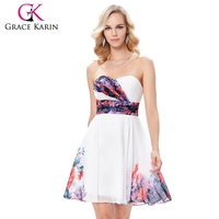 Grace Karin 2017 Strapless Flower Pattern Wedding Party Dress Chiffon Short Bridesmaid Dress 7 Size US 4~16 GK000132-1