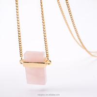 New Fashion Whole sale Delicate Natural Stone Pendant Powder Crystal Gold Metal Necklace