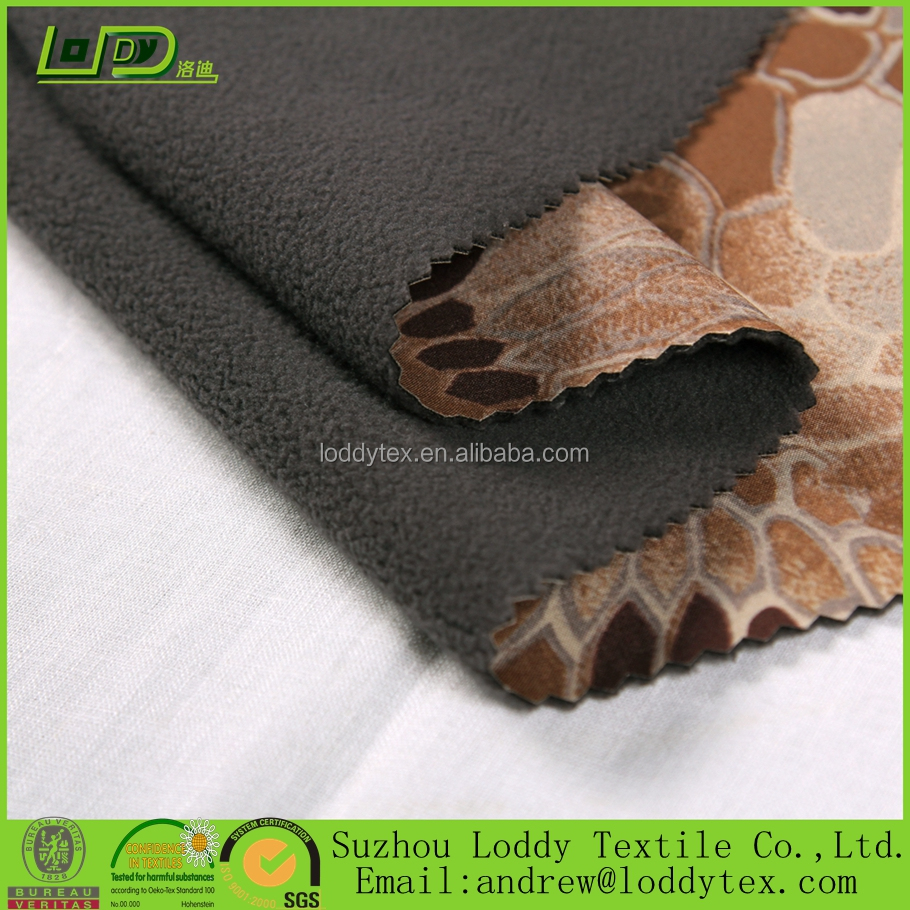 3 layer Flower printed soft shell fabric laminated with poly polar fleece / softshell textile factory from China