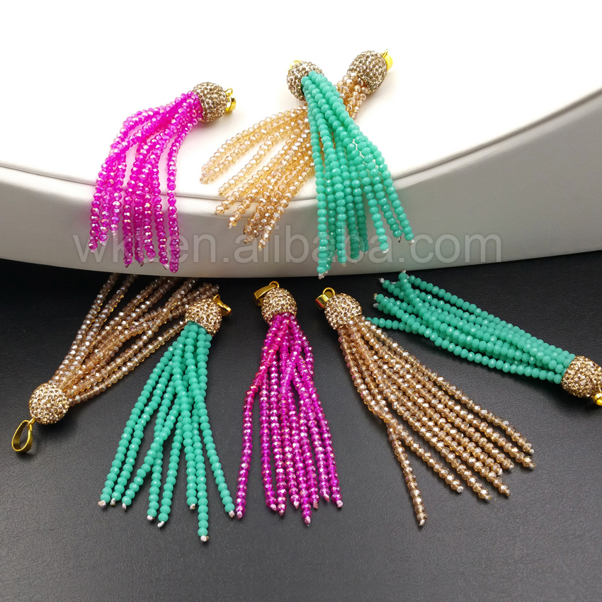 WT-TS030 Elegant Glass Bead Tassel Pendant For Women,Handmade Bead Tassel With CZ Micro Pave Cap Jewelry Pendant