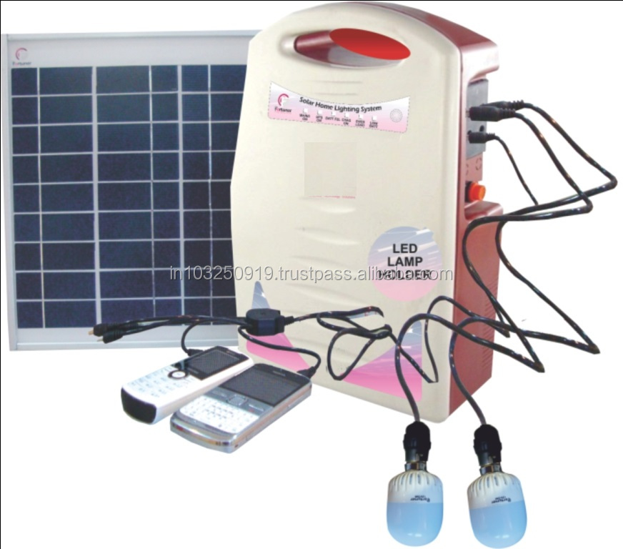 10 W Solar Home Lighting Kits with DC Fans FM Radio and Mobile charger