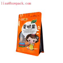 FDA certificate dried fruit snack food flat bottom sachet with clear window