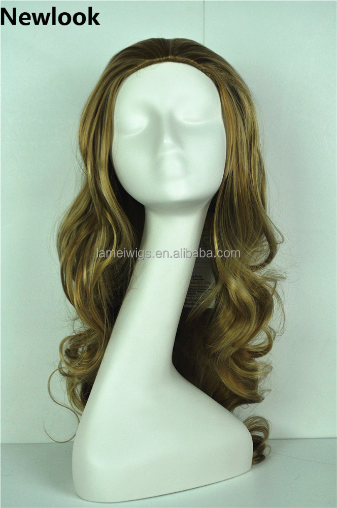 Newlook Q0001 blond curly wig factory cheap synthetic women pretty long hair weft