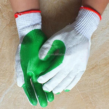 green cotton knitted solid rubber Palm coated latex work safety glove