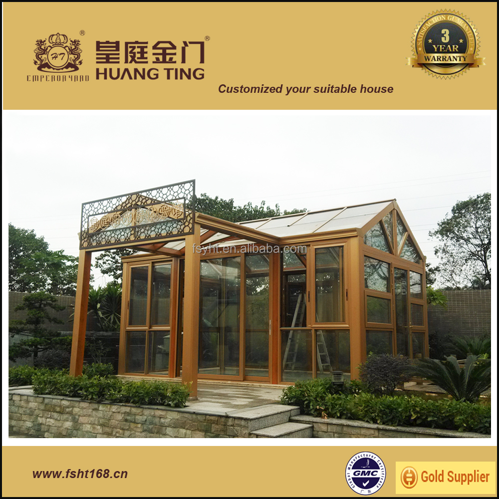 Energy-saving heat Insulated tempered Glass aluminum Sunroom,glass house