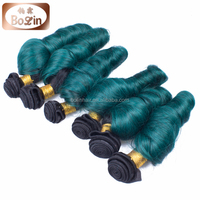 Top quality mink green color brazilian human hair extension hair dye green
