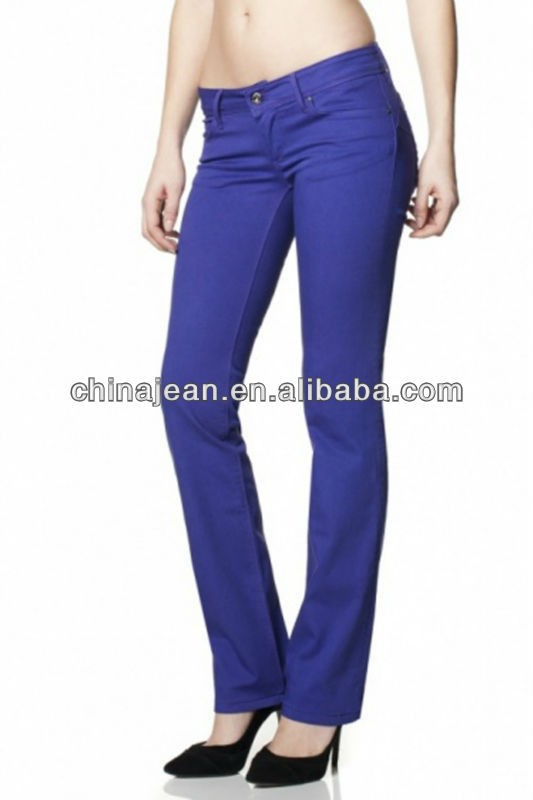 2015 la manera barata de color straight jeans para mujer oem china jeans vaquero JXC29823 colombia