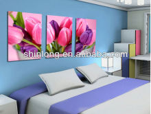 Flower glass painting picture , modern bedroom painting picture wall art decoration
