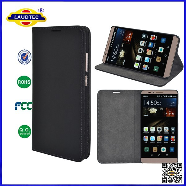 PU Leather Magnet Wallet Stand Case Flip Cover Hard Shell for Huawei Ascend Mate 7 Mobile Laudtec